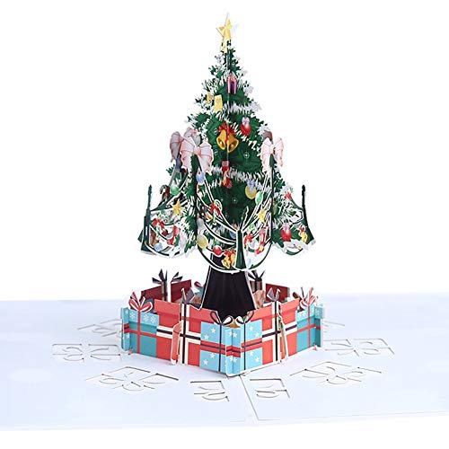 (Newin Star 1 Stück Pop-Up-Weihnachtskarte 3D Grußkarten Weihnachtsbaum Karte mit Umschlag Weihnachtskarte für Frauen Männer Junge Kinder)