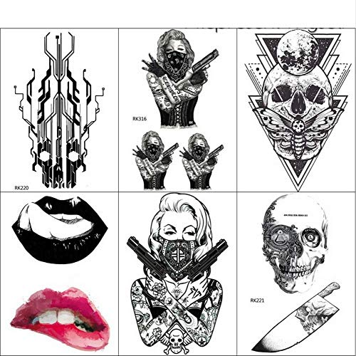 Spy Kostüm Girl - yyyDL Wassertransfer Bad Girls Gun Spy Temporäre Tattoos Aufkleber Für Frauen Männer Arm Tattoo Gefälschte Schwarz Make-Up Tipps Tatoos 10,5 * 6 cm 6 stücke