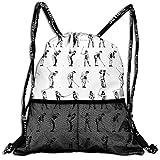 RAINNY Drawstring Backpacks Bags,Golf Swing Shown in Fourteen Stages Sports Hobby Themed Sketch Art Storyboard Print,5 Liter Capacity,Adjustable...