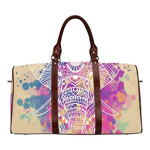 Travel Duffel Bag Schöne geometrische Kreis Element wasserdichte Weekender Bag über Nacht Carryon Handtasche Frauen Damen Einkaufstasche mit Mikrofaser Leder Gepäcktasche