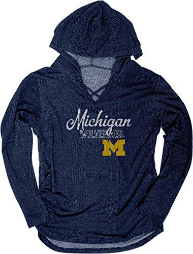 NCAA Michigan Wolverines Damen KENZIE Premium Frottee Hoodie Shirt, groß, Marineblau