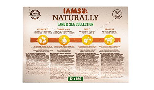 Iams Naturally Complete Land & Sea Collection Adult Cat Food Pouches, 12x85g 2