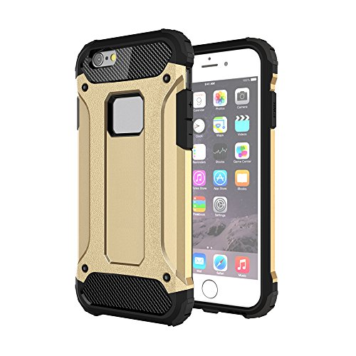 iPhone 6S Plus& 6 Plus Custodia, 2-in-1 Cases Protettivo Estrema Assorbimento-Urti Armatura Cover Per iPhone 6S Plus& 6 Plus. (Nero) Oro