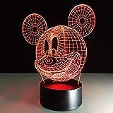 3D Cartoon Mickey Mouse Led Nachtlicht 7 Farbwechsel 3D Illusion Tischlampe Kinder Geburtstag Weihnachten Kind Geschenk