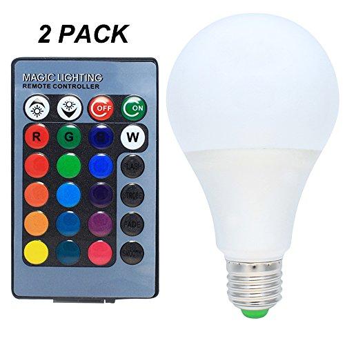 2er Pack E27 7W RGB LED Farbwechsel Lampe mit Fernbedienung Dimmbar Multicolor Glühbirne AC 85-265V
