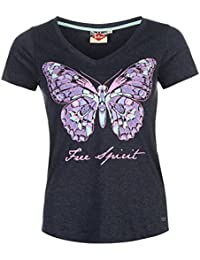 Lee Cooper Damen Butterfly V-Ausschnitt T Shirt Ladies