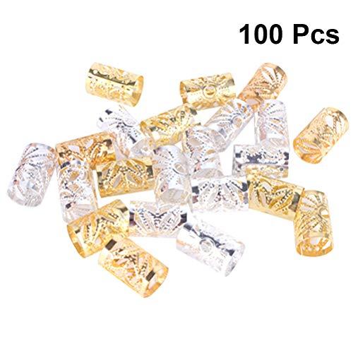 Frcolor 100 stücke Dreadlocks Perlen Metall Haar Manschetten Flechten Perlen Filigrane Rohr Haarschmuck Haarschmuck (Silber + Golden)