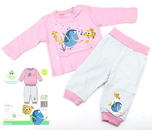 Disney Baby Hausanzug in rosa Gr. 62 - 68 Schlafanzug Findet Nemo Dorie Mädchen Pyjama 2-teilig 100% Baumwolle hautfreundlich Ökotex geprüft Typ512