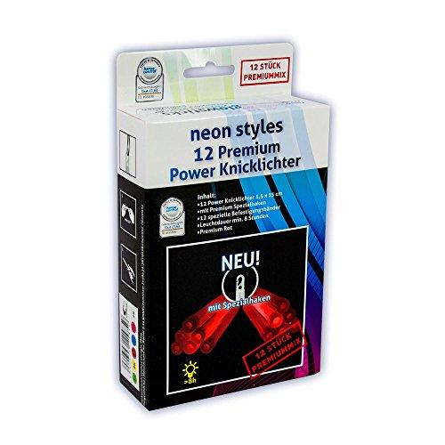 12 Premium Power Knicklichter - Rot - Spezial Haken Neon Ultra Hell NEU