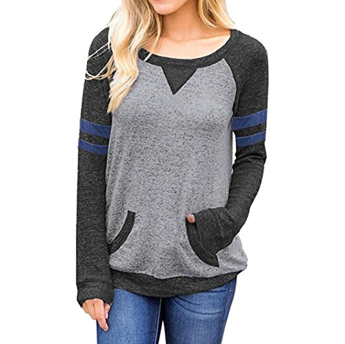 Longra Damen Oberteile Elegant 3/4-Arm Rundhals Pullover Casual gestreifte Langarmshirt Tops mit Taschen (Dark Gray, L) (Asymmetrisch Pullover Gestreifte)