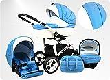 Lux4Kids BIANCinO Kinderwagen Komplettset (Autositz & Adapter, Regenschutz, Moskitonetz, Schwenkräder) 10 Eco Leather White & Baby Blue