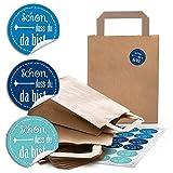 24 braune Papiertüten Geschenktüte Geschenktasche 18 x 8 x 22 cm kleine Papiertaschen + 24 Aufkleber blau türkis SCHÖN DASS DU DA BIST Verpackung Geschenke give-away