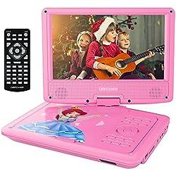 """Reproductor de DVD Portátil de 9.5"""" con Pantalla Giratoria, 5 Horas recargable incorporada de la batería, Compatible con Tarjetas SD y USB, con el cargador del coche y dispositivo de juego - Rosa"""
