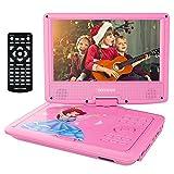 9.5'' Tragbarer DVD-Player mit Wiederaufladbarer Batterie, Schwenkbaren Bildschirm, Unterstützt SD-Karte und USB, mit 1.8M Auto-Ladegerät und Stromadapter (Rosa)