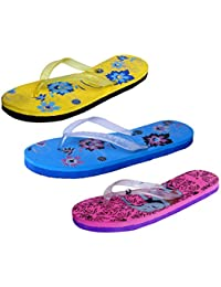 IndiStar Womens Rubber Printed Hawaii Slipper House Flip Flop(Pack Of 3) - B079TZ9GB7