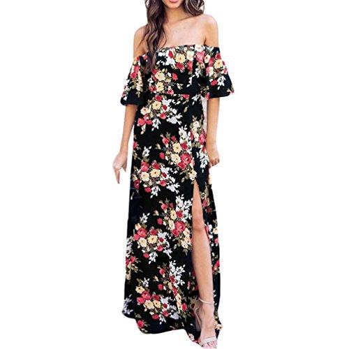 Damen Kleider Frauen Chiffon Sommerkleider Deep V-Ausschnitt Maxikleid Blumendruck Strandkleid...