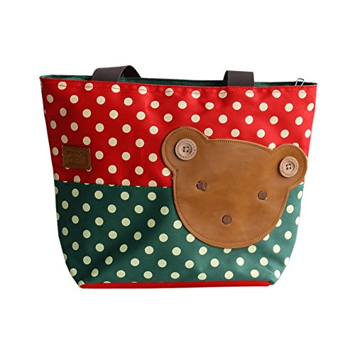 [Bear-crimson] Blancho Applique enfants Tissu Art Sac à main/Shopper Bag-middile Taille (13.3 * 5.1 * 10.6)