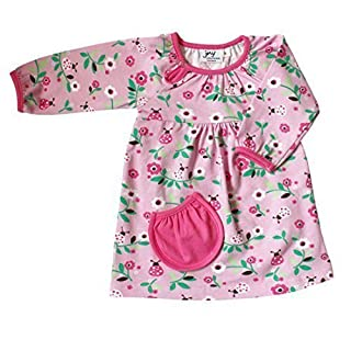 JNY Colourful Kids Baby Girls Body-Dress = Body Suit and Dress In One - Ladybird In Pink - Organic Cotton - Pink, 56