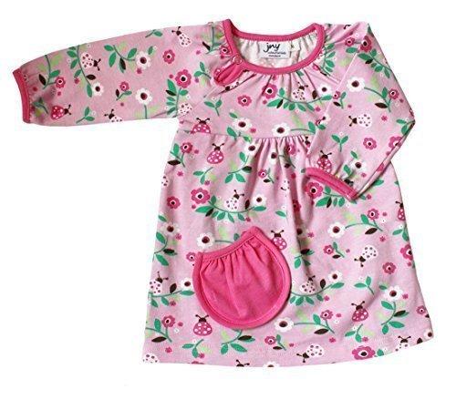 JNY Colourful Kids - Bébé fille body-kleid=grenouillère et robe en une - Coccinelle en rose - coton bio - rose, 56