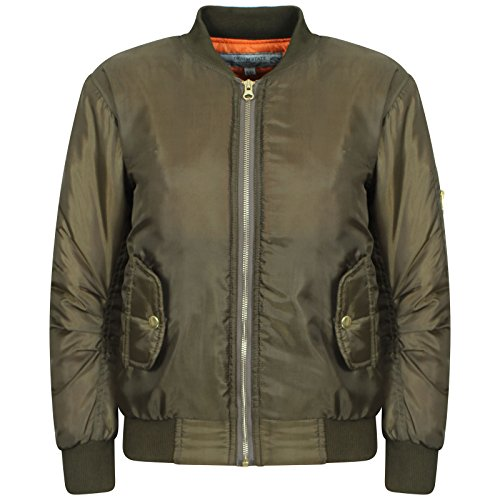 Nouvelles Filles Zip Bomber Jacket Vintage Avec Poches pour les 7-8, 9-10, 11-12, 13-14 et 15-16 ans (13-14, Kaki)