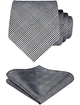 HISDERN Comprobar lazo de la boda Pa?uelo Hombres Corbata & Plaza de bolsillo Conjunto Blanco negro