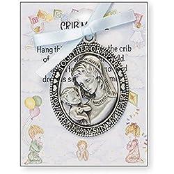 Médaille de berceau avec inscription « Sentiment Words » - Ruban bleu - Cadeau pour baby shower, baptême - Garçon