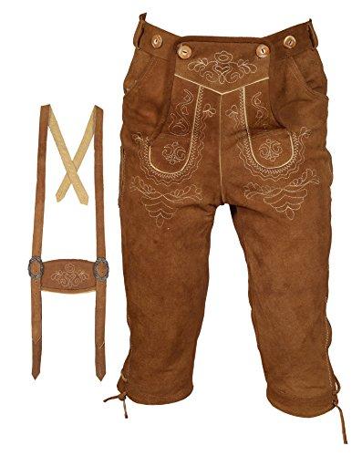 Herren Trachten Lederhose Kniebundhose mit Trägern hellbraun (52)