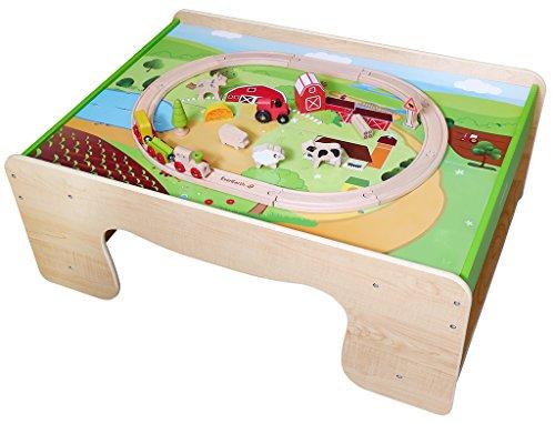 EverEarth - EE33723 - Set de train de campagne et table de train en bois - Multicolore