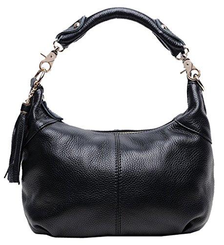 Greeniris Klassiker gute Qualität Damen Handtasche Echtleder Schultertasche Umhängetasche schwarz