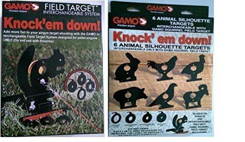 Farm Cottage Gamo Marken-Set, Feld-Eichhörnchen Zielscheibe mit Lasche zum Herausziehen, & 4 bullseye Verkleinerungsapparate & eine Packung mit 6 Tier Silhouette Ziele für air-Pistolen (Tier-ziele)