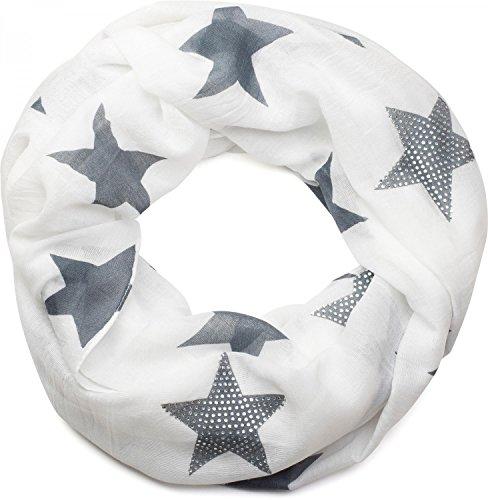 Tücher Damen (styleBREAKER Loop Schal mit Sterne Muster und edler Strass Applikation, Schlauchschal, Tuch, Damen 01018086, Farbe:Weiß-Grau (One Size))