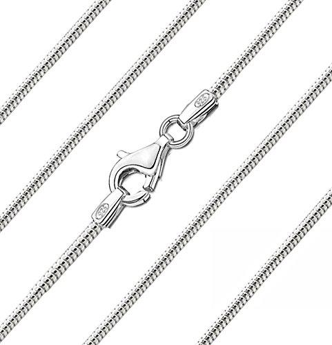 Carolina Meyer Damen-Halskette 925/000 Sterlingsilber Schlangenkette 1.8mm Diamantierte Silber Kette 45cm / 50cm / 55cm (925 Halskette)