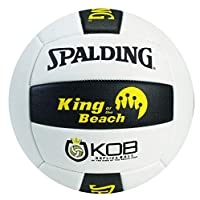 Spalding Unisex Adult King Of The Beach Replica Volley Ball - White/Black, 25 to 26 inch