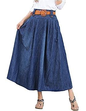 Elwow Women's Plus Size cintura alta transpirable Stretch Denim largo Maxi Jeans falda acampanada con bolsillos