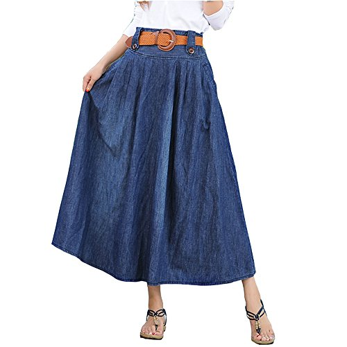 Elwow Women's Plus Size cintura alta transpirable Stretch Denim largo Maxi Jeans falda acampanada con bolsillos (Azul, S)