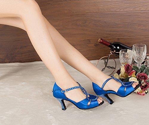 De Latins Chaussures Femme Blu Talon Chaussons Bleu Danse T qUxRFA