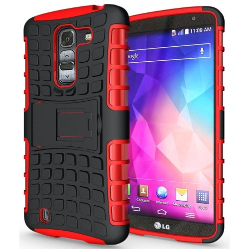 Heartly Flip Kick Stand Hard Dual Armor Hybrid Bumper Back Case Cover For LG G Pro 2 - Red  available at amazon for Rs.349