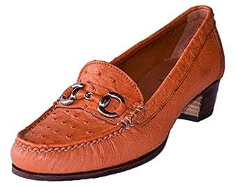 """Original Monte Lovis - Damen Mokassins """"Zapato"""" in Rotbraun - ECHTES STRAUßENLEDER - ! Maßanfertigung ! - ELEGANTES DESIGN - Erhältlich in Größen: 35 - 41"""