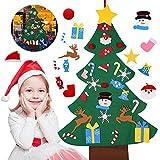 ASANMU Árbol de Navidad de Fieltro, Árbol de Navidad Artificial de Fieltro 3 Pies 26 Pcs de Adornos Desmontables DIY Adornos Navideñas Decoración Regalo para Niños Pared de Puerta Decoración Colgante