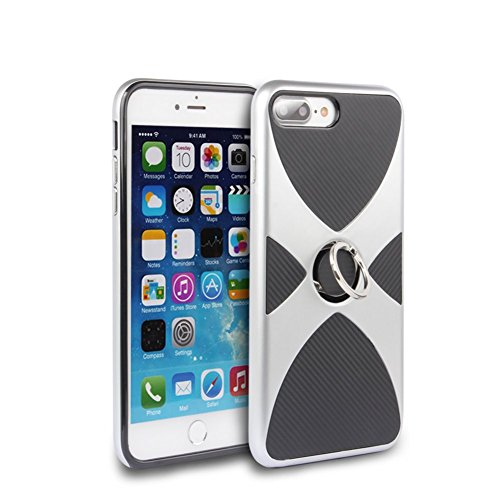 iPhone 6S Coque DWaybox Hybrid Heavy Duty Armor Hard Back Housse Coque avec 360 Degree Rotation Ring Holder Design pour Apple iPhone 6S / 6G 4.7 Inch (Silver) Silver