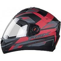 Steelbird R2K Full Face Graphics Helmet in Matt Finish with Plain Visor (Medium 580 MM, Matt Black/Red)