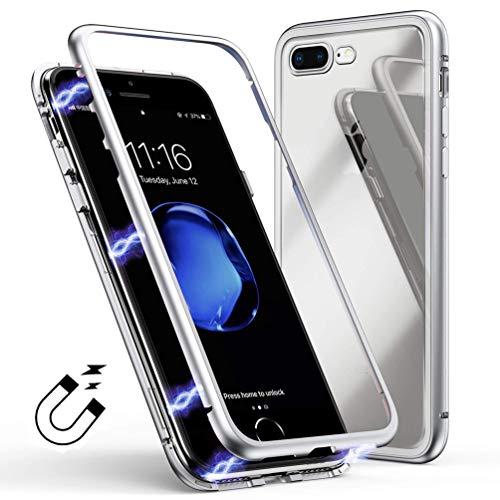 Coollee Coque Apple iPhone 7 Plus iPhone 8 Plus Magnétique Verre Trempé Dureté 9H Back Cover Etui Housse 360 degrés Protection Ultra Mince Anti Choc Full Body Transparent Case Créatif Shell, Blanc