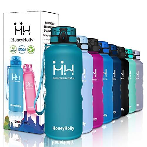 HoneyHolly Sport Trinkflasche Auslaufsicher BPA-frei Sportflasche Kunststoff mit Filter 1500ml, Tritan Wasserflasche kohlensäure geeignet Für Kinder, Schule,Fahrrad,Gym,Yoga, Camping