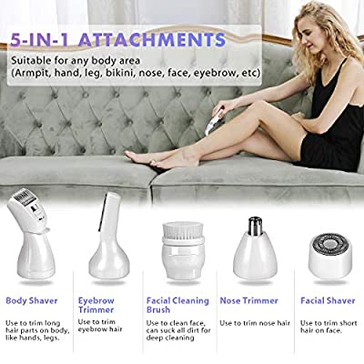 Ladies Electric Shaver, ISENPENK 5 in 1 Rechargeable Razors Potable Waterproof Bikini Trimmer Painless Epilator for Women Body Hair Removal and Facial Cleansing