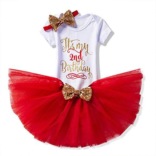 NNJXD Mädchen Neugeborene Es ist mein 1. Geburtstag 3 Stück Outfits Strampler + Rock + Stirnband Größe (2) 2 Jahre Rot (Stück-rock-outfit 3)