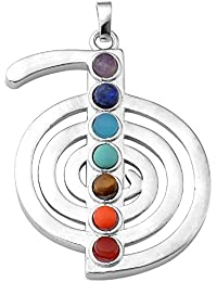 Jovivi 7Chakra Gemstone colgante cuentas redondas de cristal Reiki curación balancing–espada estilo