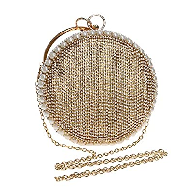 Round Handbag Ladies Rhinestones Evening Bag Mini Pouch Clutch - clutches