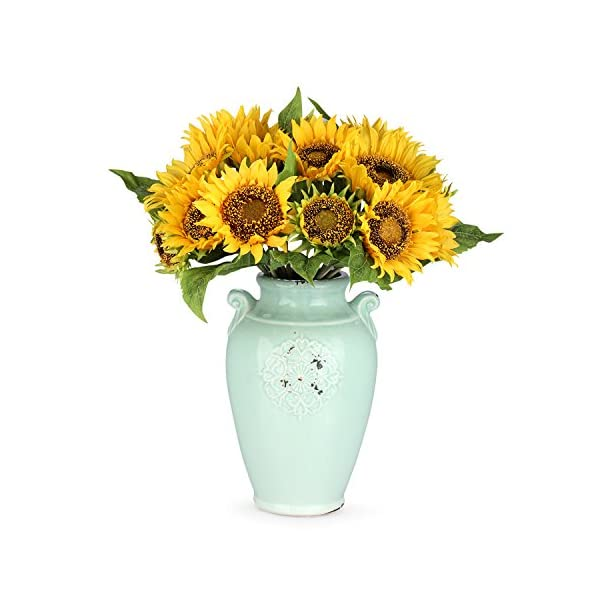 Louis Jardín Flores artificiales girasol, girasol, 2 bouquets