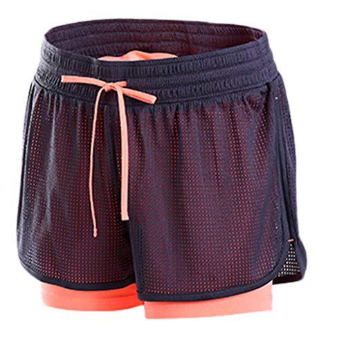 DEELIN 2 in 1 Damen Laufshorts Yoga Gym Sport Shorts Atmungsaktiv Fitnessshose Outdoor Sporthose Traningshose -