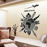 Élégant Global Voyages Sticker mural amovible Maison en papier peint de Salon Chambre Cuisine Art Images murales décoration de porte de fenêtre en PVC + Cadeau Grenouille 3D autocollant pour voiture